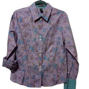 VTG Liz Claiborne Lavender Floral Blouse 10
